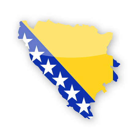 Bosnia and Herzegovina Flag Country Contour Vector Icon - Illustration