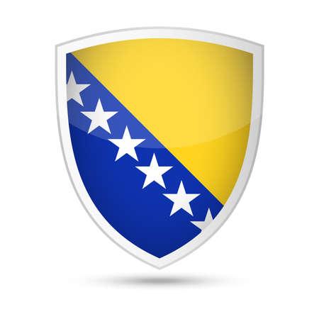 Bosnia and Herzegovina Flag Vector Shield Icon - Illustration