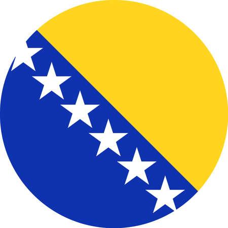 Bosnia and Herzegovina Flag Vector Round Flat Icon - Illustration Ilustração
