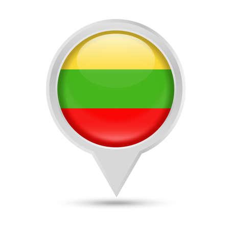 Lithuania flag round pin icon illustration.