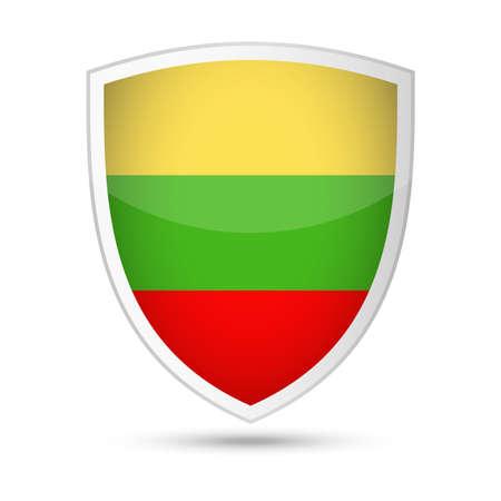 Lithuania flag shield icon illustration. Illustration