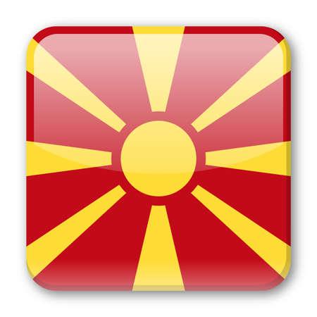 Macedonia Flag Vector Square Icon - Illustration Illustration