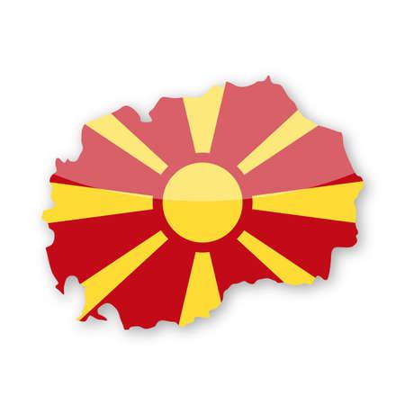 Macedonia Flag Country Contour Vector Icon - Illustration