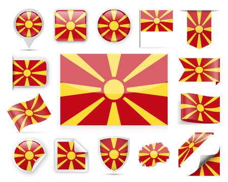 Macedonia Flag Set - Vector Illustration
