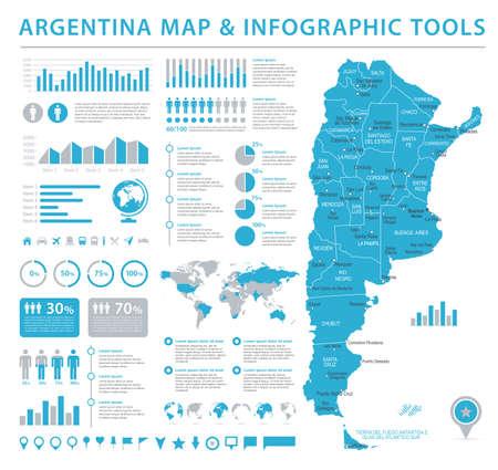 Argentina Map - Detailed Vintage Vector Illustration Illustration