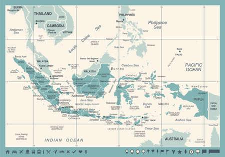 Indonesia Map - Vintage Detailed Vector Illustration  イラスト・ベクター素材