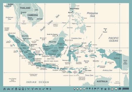 Indonesia Map - Vintage Detailed Vector Illustration Ilustração