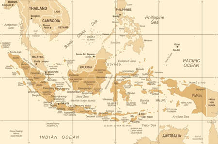 Indonesia Map - Vintage Detailed Vector Illustration