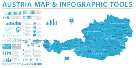 Austria Map - Info Graphic Detailed Vector Illustration Illustration