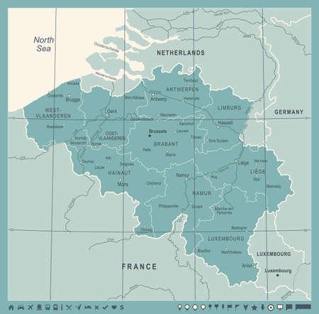 Belgium Map - Vintage Detailed Vector Illustration