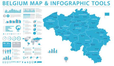 Belgium Map - Detailed Info Graphic Vector Illustration