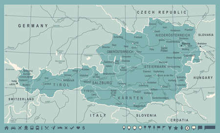 Austria Map - Vintage Detailed Vector Illustration