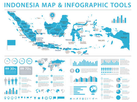 Indonesia Map - Detailed Info Graphic Vector Illustration Illustration