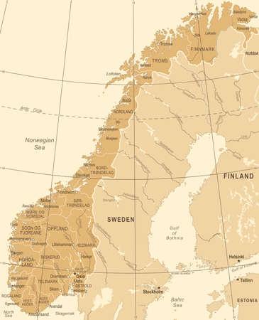 Norway Map - Vintage Detailed Vector Illustration