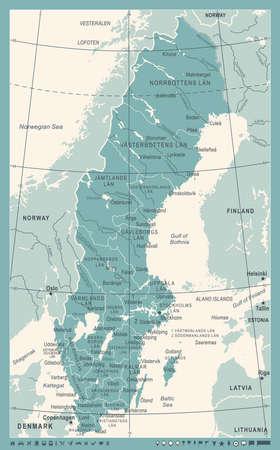 Sweden Map - Vintage Detailed Vector Illustration