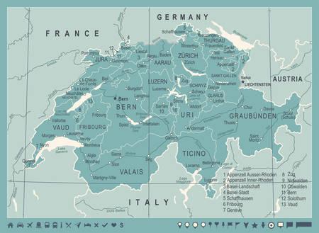 Suisse carte - vintage détaillée illustration vectorielle Banque d'images - 89165804