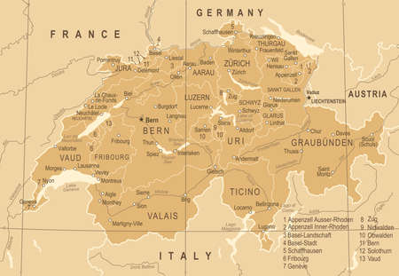 Switzerland Map - Vintage Detailed Vector Illustration 向量圖像