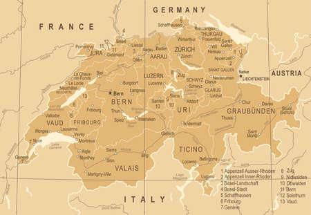 Switzerland Map - Vintage Detailed Vector Illustration Stock Illustratie