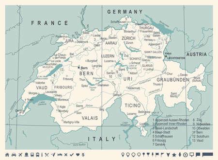 Mapa de Suiza - Vintage detallada ilustración vectorial Ilustración de vector