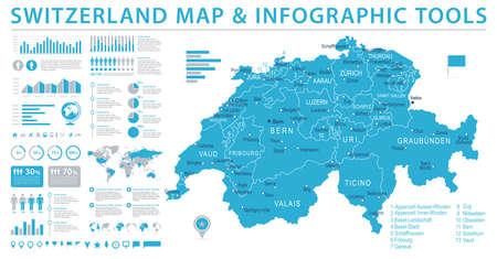 Carte de Suisse - informations détaillées Illustration vectorielle graphique Banque d'images - 89165813