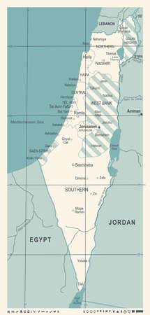 Israel Map - Vintage Detailed Vector Illustration Illustration