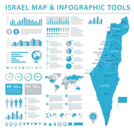 이스라엘지도 - 상세 정보 그래픽 벡터 일러스트 레이션 일러스트