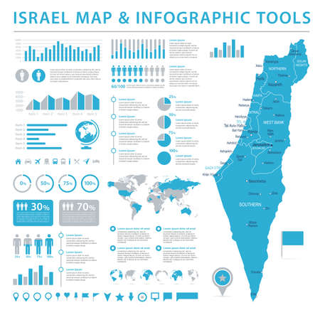 Israel Map - Detailed Info Graphic Vector Illustration