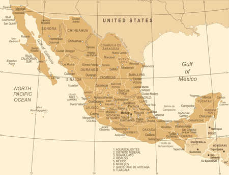 Mexico Map - Vintage Detailed Vector Illustration