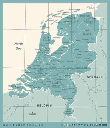 Netherlands Map - Vintage Detailed Vector Illustration Çizim