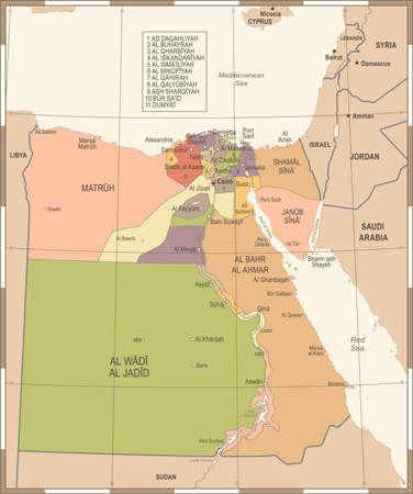 Egypt Map - Vintage High Detailed Vector Illustration