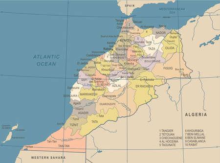 Morocco Map - Vintage Detailed Vector Illustration