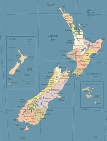 De Kaart van Nieuw Zeeland - Wijnoogst Gedetailleerde Vectorillustratie