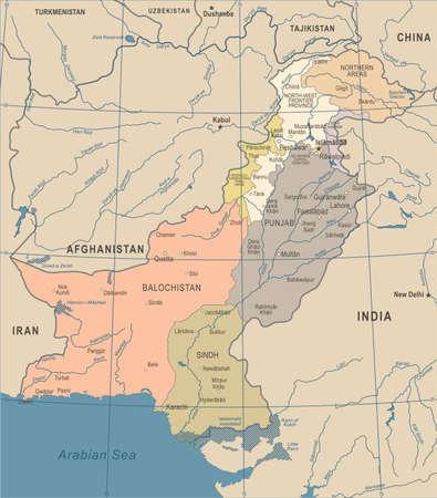 Pakistan Map - Vintage Detailed Vector Illustration Illustration
