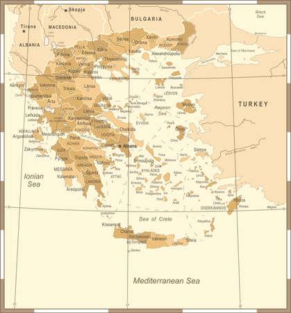 Greece Map - Vintage High Detailed Vector Illustration