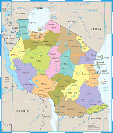 Tanzania Map - High Detailed Vector Illustration Ilustração