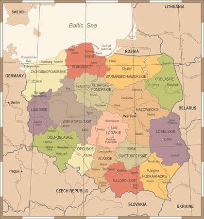 Poland Map - Vintage High Detailed Vector Illustration