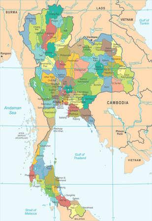 タイの地図 - 高詳細なベクトル図  イラスト・ベクター素材