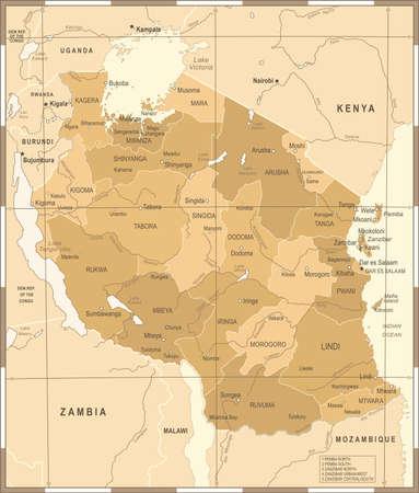 Tanzania Map - Vintage Detailed Vector Illustration