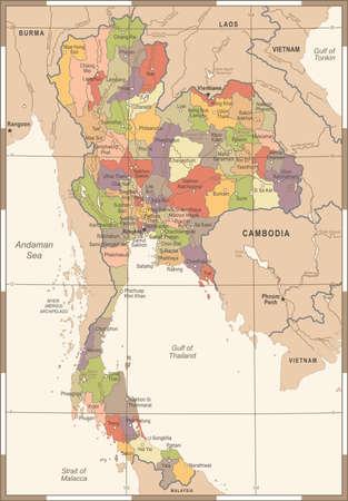 Thailand Map - Vintage Detailed Vector Illustration
