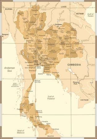 タイの地図 - ヴィンテージの詳細なベクトル図