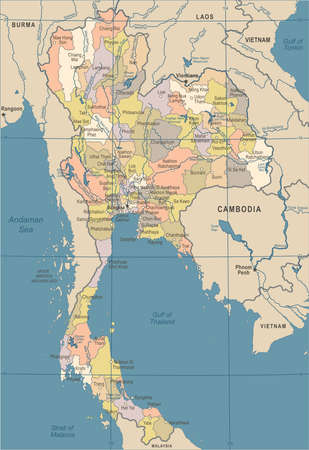 Thailand Map - Vintage Detailed Vector Illustration