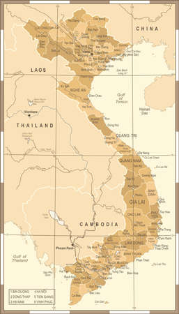 Vietnam Map - Vintage Detailed Vector Illustration