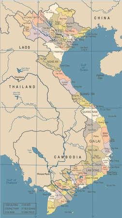 ベトナム地図-ビンテージ詳細ベクトルイラスト