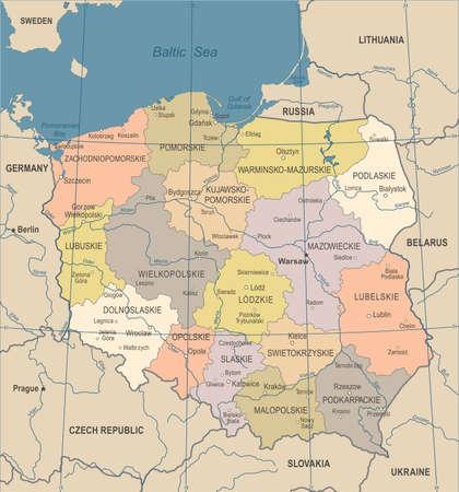 ポーランド地図-ヴィンテージ詳細なベクトルのイラスト  イラスト・ベクター素材