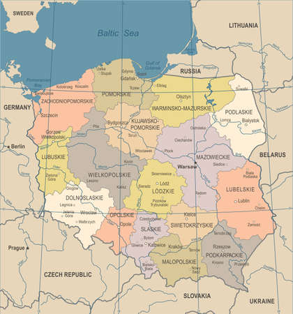 Poland Map - Vintage Detailed Vector Illustration