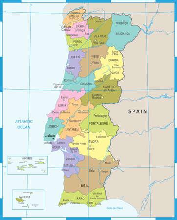 Portugal Map - High Detailed Vector Illustration 矢量图像