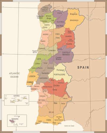 Portugal Map - Vintage High Detailed Vector Illustration