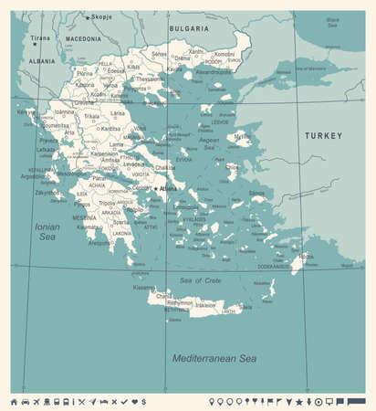 Greece Map - Vintage Detailed Vector Illustration