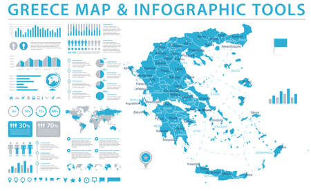 Greece Map - Detailed Info Graphic Vector Illustration