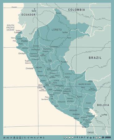 Peru Map - Vintage Detailed Vector Illustration Illustration